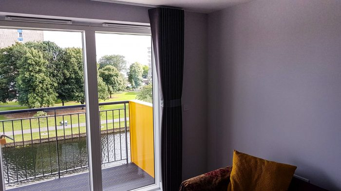 Curtains and rails for rental property