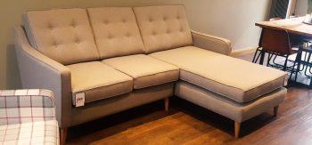 Mid Century Chaise Sofa Cambay Mouse Villa Nova Fabric V3228/25