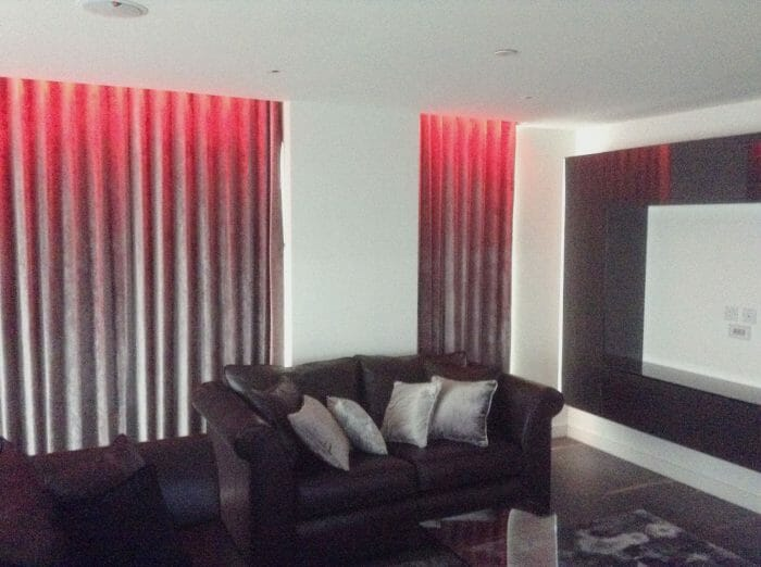 Curtains for the apartment in Wandsworth & Red led lights