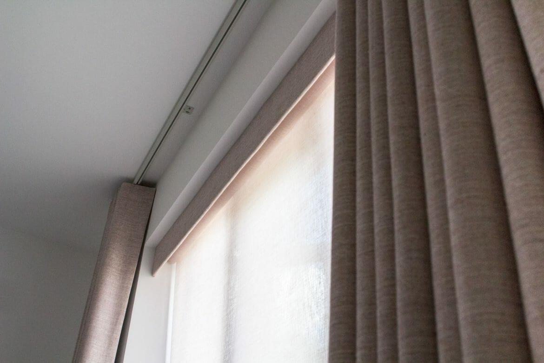 Pelmet, sheer roller blind and curtains - at Imber Riverside, London