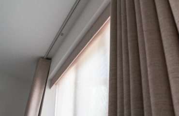 Pelmet, sheer roller blind and curtains - at Imber Riverside, London