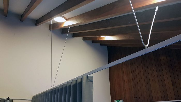 Curtain Divider, track suspended from sloped ceiling