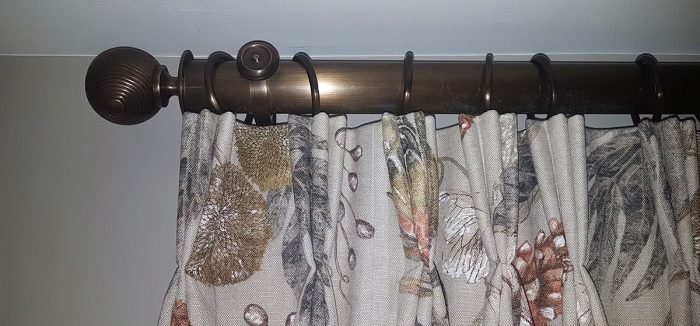 Antique Brass Pole with Reeded Ball Finials