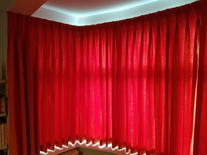 Silent Gliss Corded bay track and Curtains