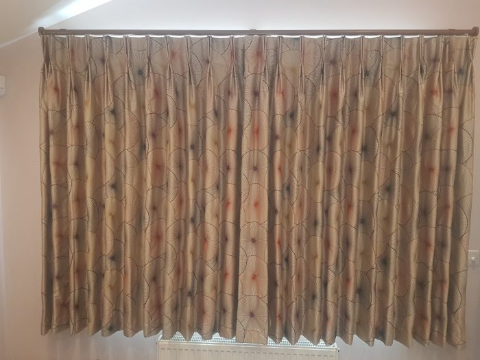 Made to measure double pleat blackout lined curtain to Glider pole