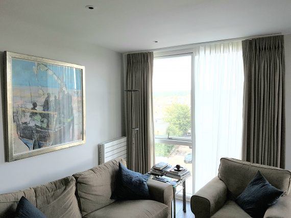 Pair of Lined made to measure curtains and sheer curtains