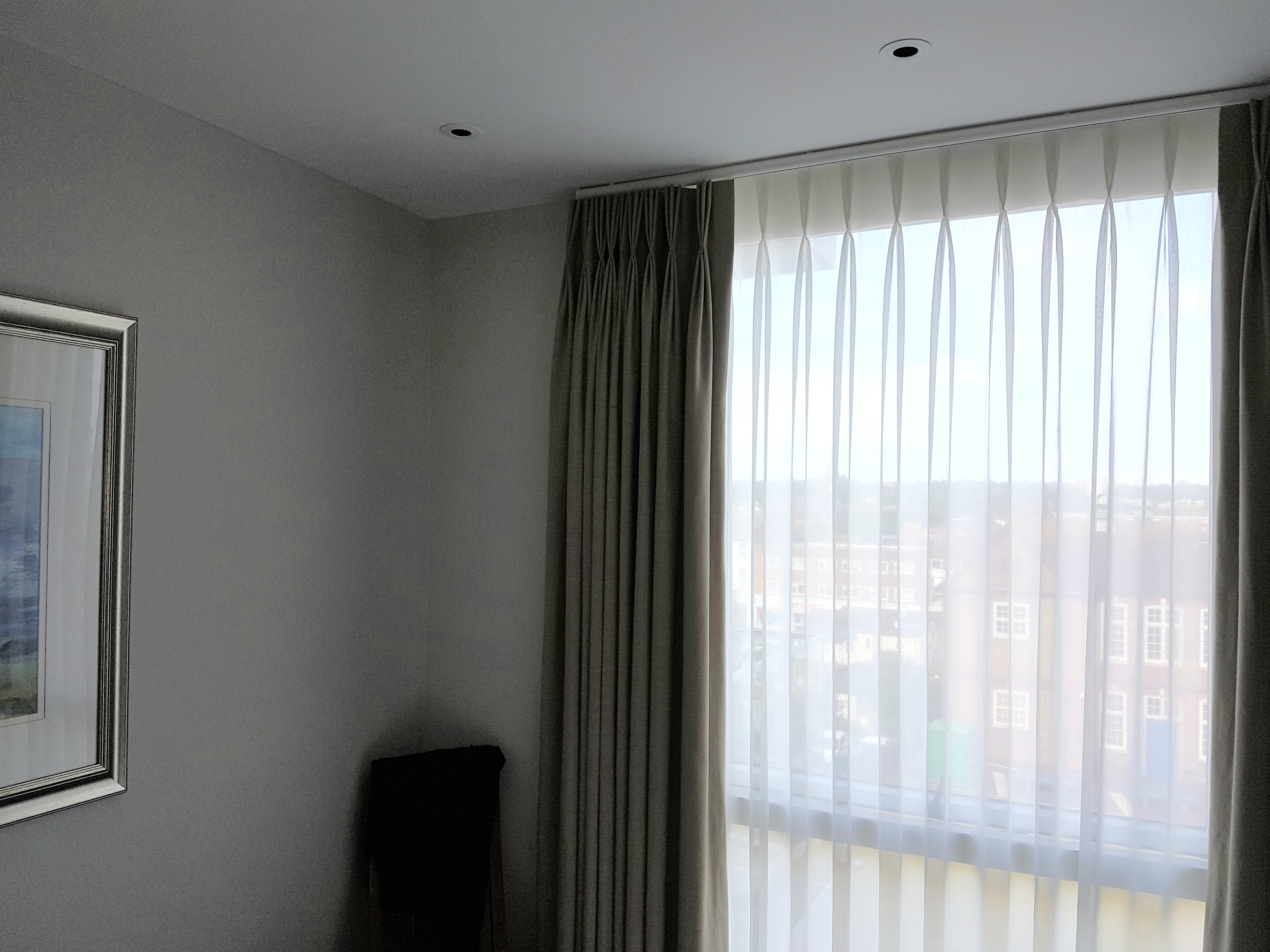 Bespoke Curtains, cotton fabric curtains lined and sheer curtains to track and pole