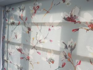 bespoke curtains and blinds in botanical print by Romo fabrics