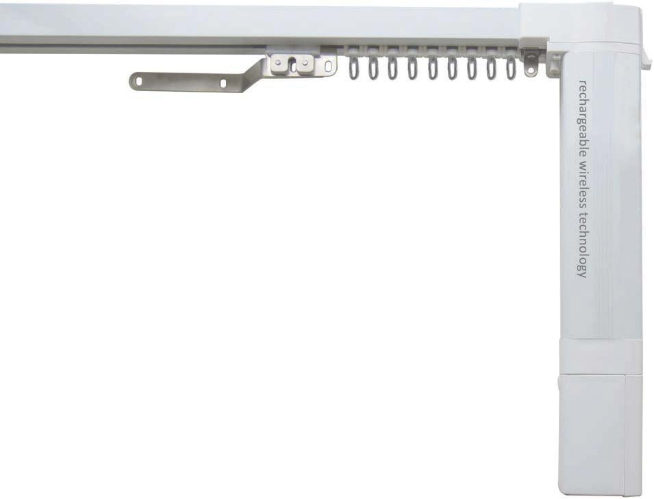 White electric motorised curtain rail battery operated with remote control