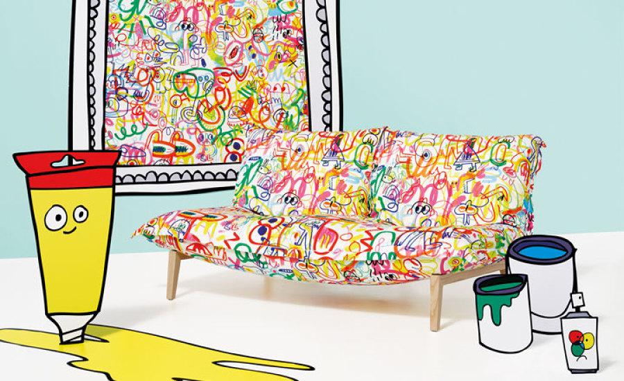Jon x Burgerman fabric Rainbow Scrawl a graffiti design in vibrant array of scrawls and scribbles