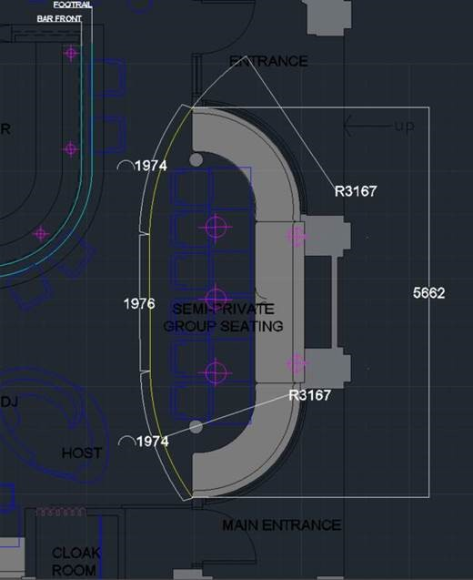 Cad drawing of commercial reverse curve curtain track