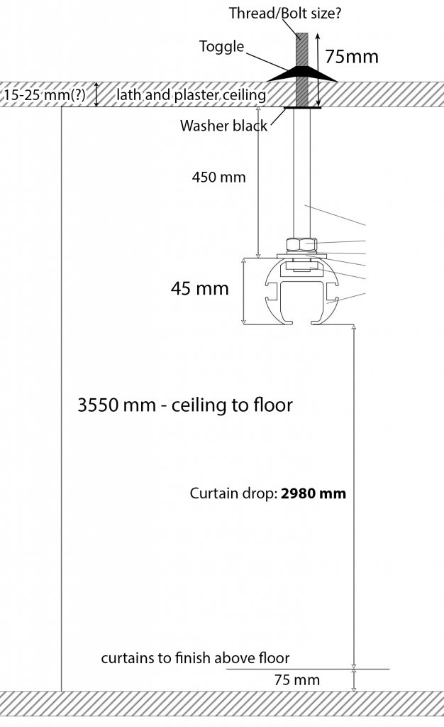 Curtain track on ceiling rod diagram