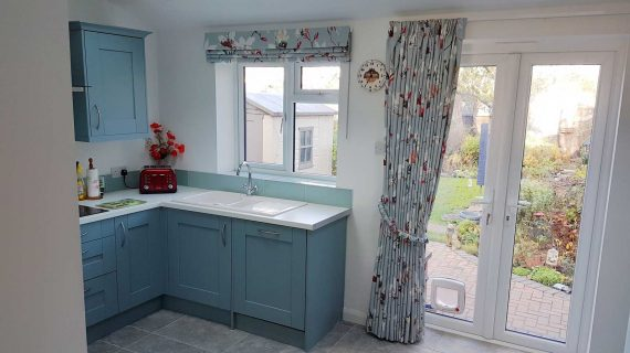 curtains and roman blind saphira duck egg 7711/02 London